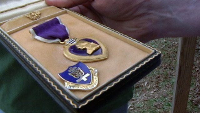 The Purple Heart awarded to a fallen World War II soldier that was recently found at the Anderson Jockey Lot. (Feb. 21, 2013/FOX Carolina)