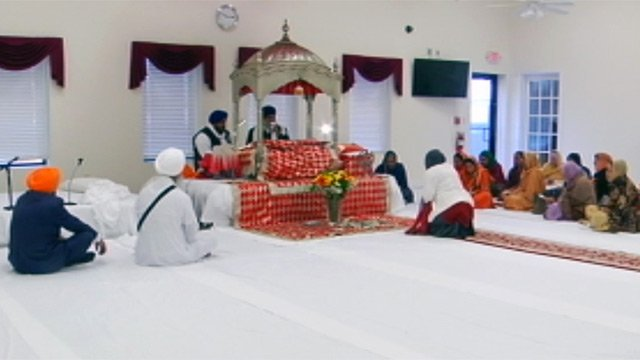 Members worship at the new Upstate Sikh temple in Duncan. (Feb. 24, 2013/FOX Carolina)