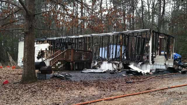 The fire-ravaged home on Judy Way in Greer. (Feb. 25, 2013/FOX Carolina)