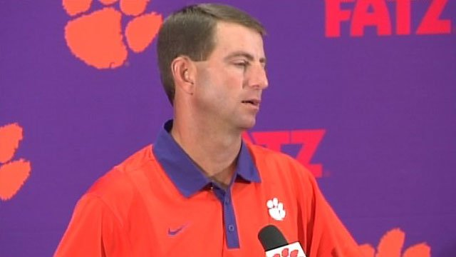 Clemson coach Dabo Swinney addresses the media during a news conference. (File/FOX Carolina)