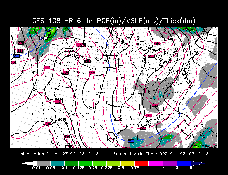 GFS model showing a chance for snow late Saturday for our area.