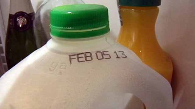 The expiration date is displayed on the top of a gallon of milk. (File/FOX Carolina)