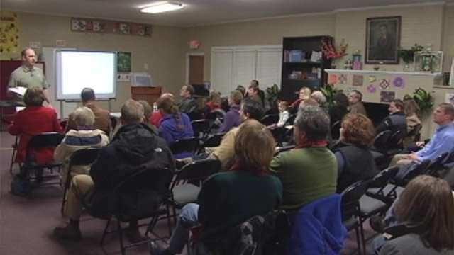 Neighbors attend a meeting to discuss the North Main development plans. (Feb. 26, 2013/FOX Carolina)