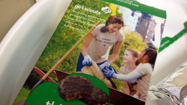 A box of the &quot;Thin Mints&quot; variety of Girl Scout cookies is displayed on a table. (File/FOX Carolina)
