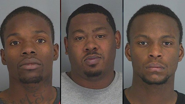From left to right: Robert Moore, Reginald Sanders and Tevin Thomas. (Spartanburg Co. Detention Center)
