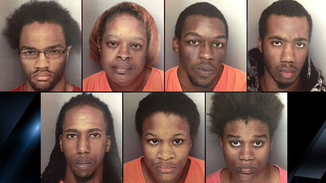 From upper-left to lower-right: Jamie Mishoe, Imogene Mishoe, Labraski Mishoe, Jordan Sullivan, Kareem Cotton, Kenosha Jackson-Mishoe and Ebony Morris. (Greenville Co. Sheriff's Office)