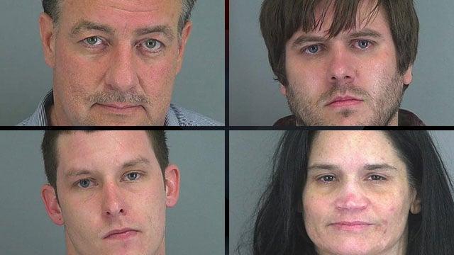 From upper-left to lower-right: Timothy Crockett, Jonathan Groover, Kylen Moss and Anita Peeler. (Spartanburg Co. Sheriff's Office)