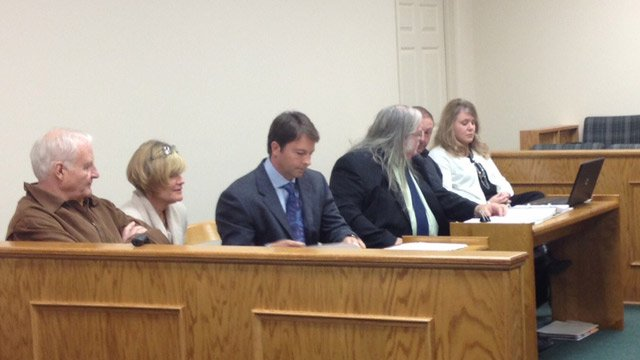 The Watsons (left) and the Blantons (right) appear in court for a bench trial. (Feb. 28, 2013/FOX Carolina)