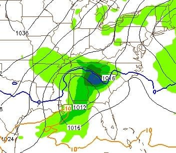 this one shows a projection of accumulated precipitation between Tuesday at 7am and 1pm... also, the approximate rain/snow freezing line (in blue) following closely along the GA/SC border with what would likely be snow and sleet north of it