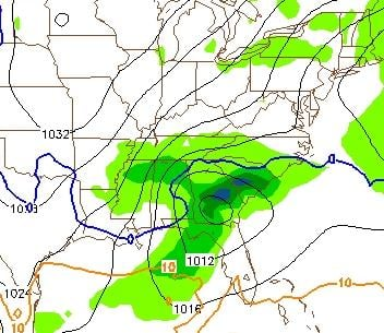 this image shows a projection of accumulated precipitation between Tuesday at 1pm and Tuesday at 7pm... also, the approximate rain/snow freezing line (in blue) with freezing drizzle/light snow to the north of that line