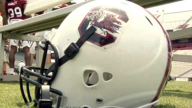 A South Carolina football helmet is displayed on a field in Columbia. (File/FOX Carolina)