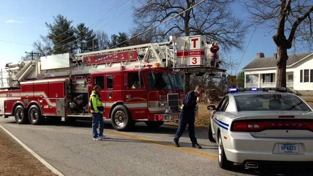 Firefighters and troopers have Campton Road blocked off around the plant. (March 1, 2013/FOX Carolina)
