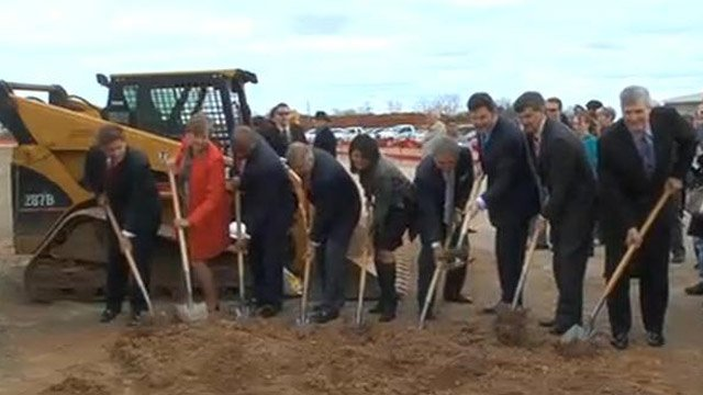 Government and business leaders break ground on the Inland Port. (March 1, 2013/FOX Carolina)