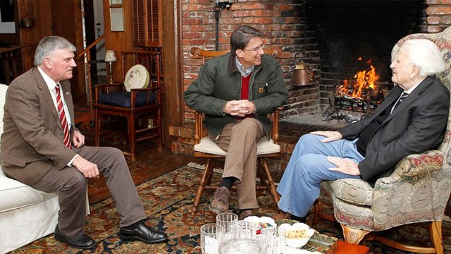 North Carolina Gov. Pat McCrory (center) visited with evangelist Billy Graham, 94,  and his son, Franklin (left), on March 1, 2013, in Graham's mountain home in Montreat. (Billy Graham Evangelistic Association)