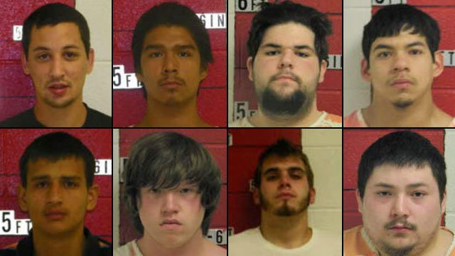 From top-left to bottom-right: Troy Boston, Joshua Calhoun, Marcos Cardonne, Trevor George, Corey Jenkins, Curtis Price, Correy Price and Joshua Price. (Swain Co. Sheriff's Dept.)