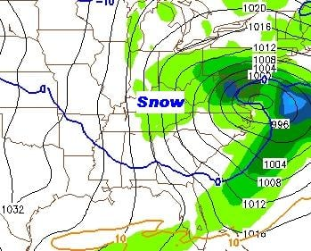 the map above is a projection consistent with conditions expected Wednesday morning