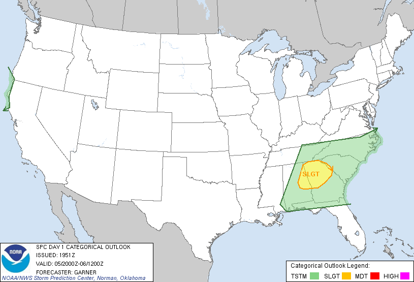 Slight risk of severe storms for northeast GA and extreme western Upstate