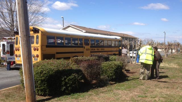 The school bus involved in a crash along Williamston Road in Anderson. (Mar. 6, 2013/FOX Carolina)