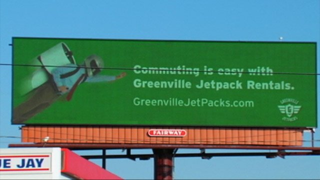 One of the new Greenville Jetpack Rentals billboards in Greenville. (Mar. 6, 2013/FOX Carolina)