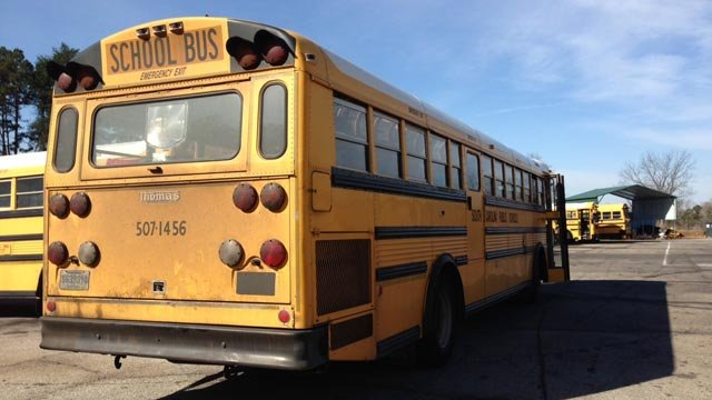 The school bus was towed to a Greenville County School's bus lot. (Mar. 7, 2013/FOX Carolina)