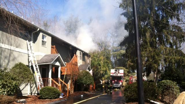 Smoke billows from condos at 410 Windswept Drive in Asheville. (Mar. 8, 2013/Asheville Fire Dept.)