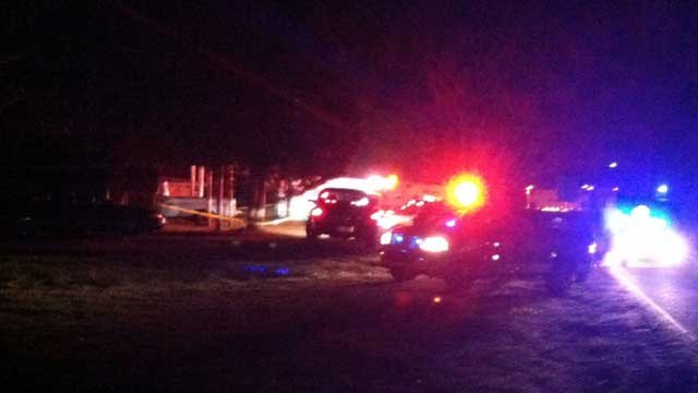 Emergency vehicles surround the scene of a shooting near Landrum. (March 8, 2013/FOX Carolina)