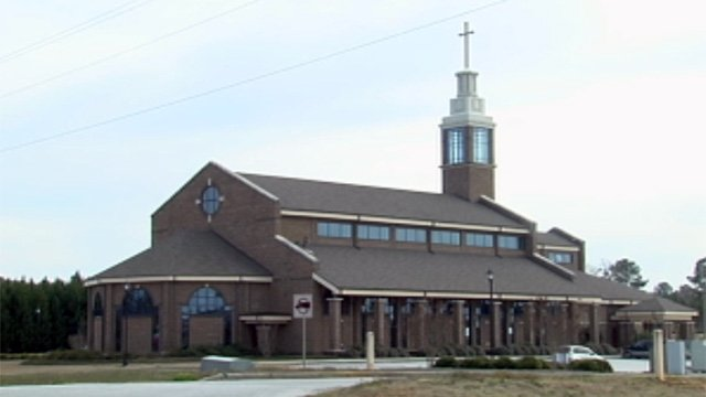 Our Lady of Lourdes Catholic Church is located on Mathis Road in Greenwood. (Mar. 10, 2013/FOX Carolina)