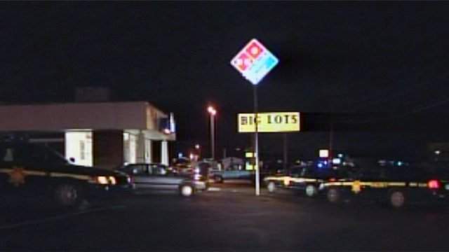 Deputies swarm the Anderson Road Dominos after shots were fired Saturday night. (Mar. 9, 2013/FOX Carolina)