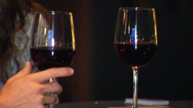 The Deluccias enjoy some red wine at Stellar Restaurant and Wine Bar in downtown Greenville. (Mar. 12, 2013/FOX Carolina)