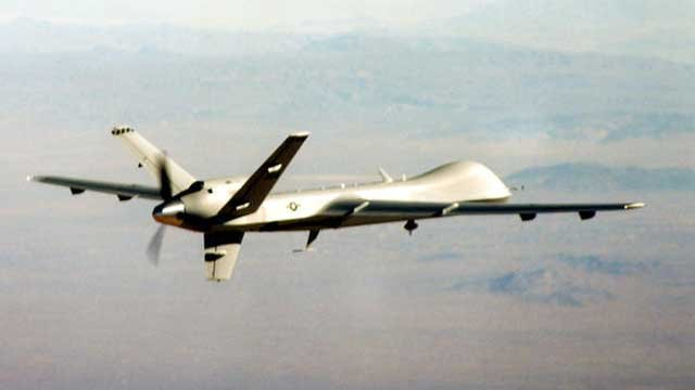 "US Air Force MQ-9 ""Reaper"" drone aircraft in flight. (AP/USAF photo)"