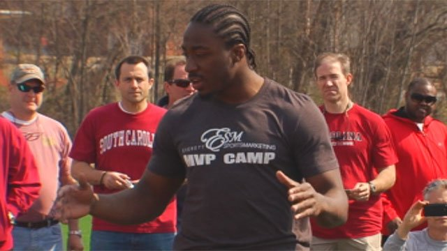 Marcus Lattimore talks at Saturday's football camp raising money for The Salvation Army Boys and Girls' Club of Greenville County. (Mar. 16, 2013/FOX Carolina)