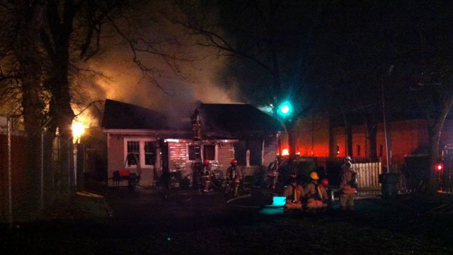 Thick smoke rises from a home in downtown Greenville. (March 18, 2013/Source: FOX Carolina)