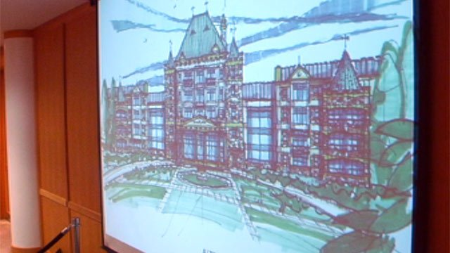 Some of Kaufmann's proposed plans are shown at Monday's public hearing. (Mar. 18, 2013/FOX Carolina)