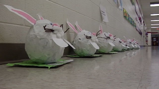 Some of the Easter-themed student artwork is displayed in the halls of Flat Rock Elementary School. (March 22, 2013/FOX Carolina)