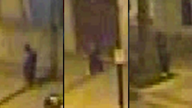 These images taken from grainy surveillance video show the person who police say cut cords that power lights on Main Street. (Source: Greenville Police Dept.)