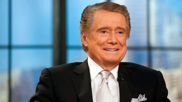"Regis Philbin appears on his farewell episode of ""Live! with Regis and Kelly"", in New York, Friday, Nov. 18, 2011. (AP Photo/Charles Sykes)"
