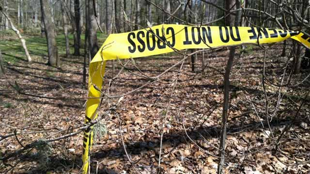 The wooded area along Winding Way Road where deputies say the body was found. (Apr. 9, 2013/FOX Carolina)