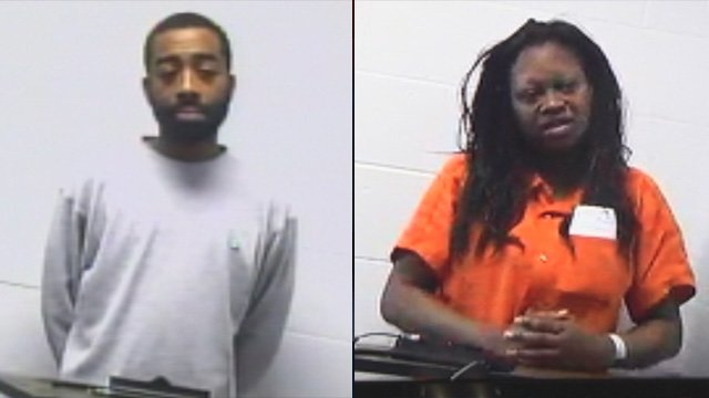 Alonzo Brown (left) and Tongela McBride appear in Anderson County for their respective bond hearings. (Apr. 6 & 10, 2013/FOX Carolina)