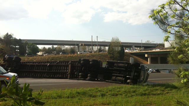 The overturned semi truck was blocking I-385 northbound at exit 31, according to a FOX Carolina iWitness. (Apr. 9, 2013/FOX Carolina iWitness Craig J.)