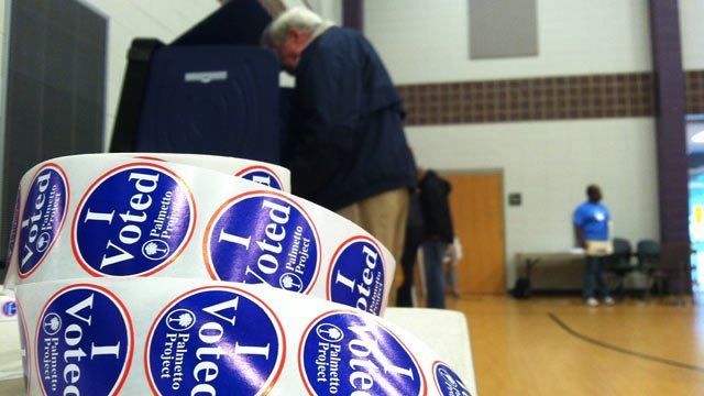 A voter casts his ballot at an Upstate polling place. (Nov. 6, 2012/FOX Carolina)