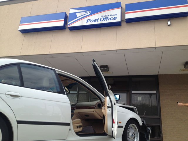 The car USPS officials say crashed into the Orchard Park Dr. location on Wednesday. (Apr. 24, 2013/FOX Carolina)