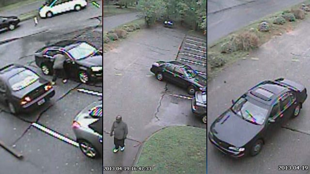 Deputies hope someone can identify the man in the center image and the dark-colored car. (Source: Greenville Co. Sheriff's Office)
