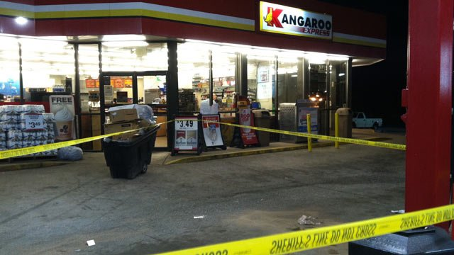 Deputies had the crime scene taped off at the Kangaroo Gas Station on Shelby Highway Tuesday morning. (Apr. 23, 2013/FOX Carolina)