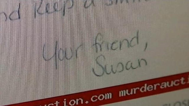 A screen grab of one of Susan Smith's letters sold on MurderAuction.com. (File/FOX Carolina)