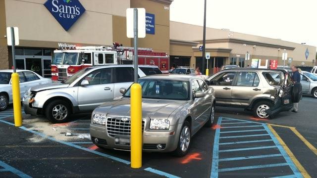 The wrecked cars in the Woodruff Road Sam's Club parking lot. (Apr. 30, 2013/FOX Carolina)