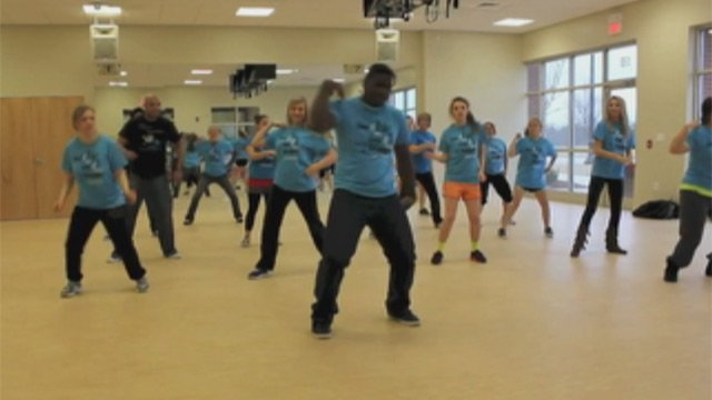 Defender's for Children dancers practice the flash mob routine. (May 3, 2013/FOX Carolina)