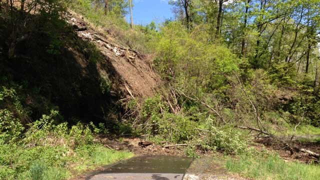A rockslide had closed part of a roadway in the Ridgecrest area of Buncombe Co. after heavy rains. (May 6, 2013/FOX Carolina)