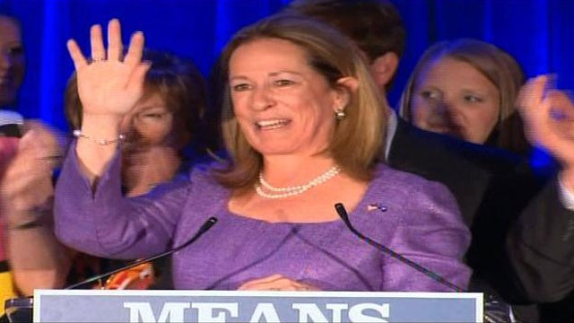 Elizabeth Colbert Busch speaks to a crowd of supporters following her loss to Mark Sanford. (May 7, 2013/Source: CNN)