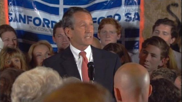 Former SC Gov. Mark Sanford speaks to a crowd of supporters after winning his former Congressional seat. (May 7, 2013/Source: CNN)