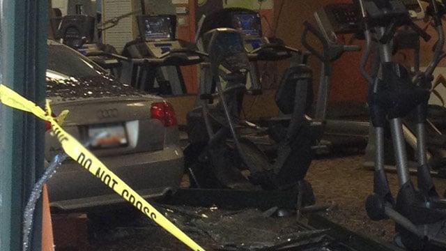 A car crashed into Anytime Fitness on Pelham Road on Thursday. (May 9, 2013/FOX Carolina)